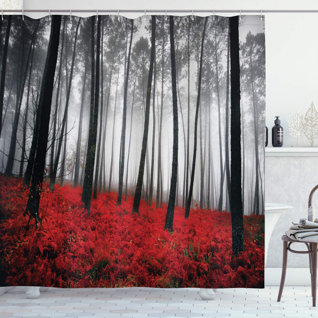 Ambesonne Forest Shower Curtain, Mystical Fantasy Woodland Under Heavy Fog Tall Trees Bushes Contrast Colors, Cloth Fabric Bathroom Decor Set with Hooks, 70