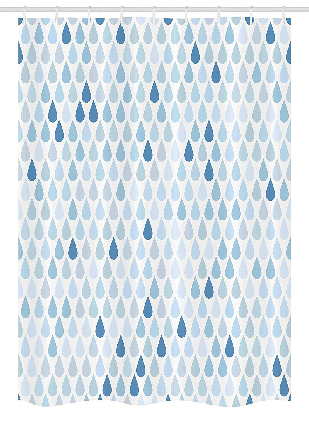 Ambesonne Blue and White Stall Shower Curtain, Minimalist Rain Drops Motive in Tones Tears of Earth Air Gravity Image Art, Fabric Bathroom Decor Set with Hooks, 54