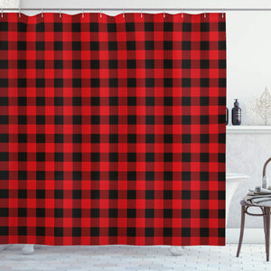 "Ambesonne Plaid Shower Curtain, Lumberjack Fashion Buffalo Style Checks Pattern Retro Style with Grid Composition, Cloth Fabric Bathroom Decor Set with Hooks, 84"" Extra Long, Orange Black"
