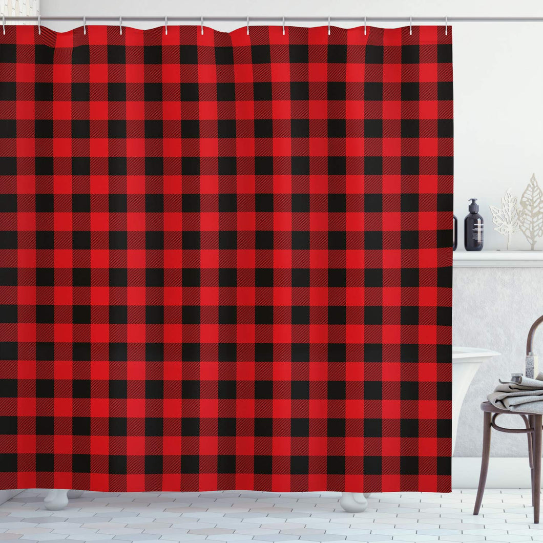 Ambesonne Plaid Shower Curtain, Lumberjack Fashion Buffalo Style Checks Pattern Retro Style with Grid Composition, Cloth Fabric Bathroom Decor Set with Hooks, 84