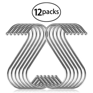 12 Pack S Hooks, YBWM S Shaped Anti-Rust Stainless Steel Metal Hooks Hanger for Kitchen, Work Shop, Bathroom, Garden Hanging Clothing, Bags, Kitchen Utensil, Cutting Boards, Pots and Pans