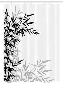 "Ambesonne Bamboo Stall Shower Curtain, Bamboo Leaves on Clear Simple Background Organic Life Illustration, Fabric Bathroom Decor Set with Hooks, 54"" X 78"", Black White"
