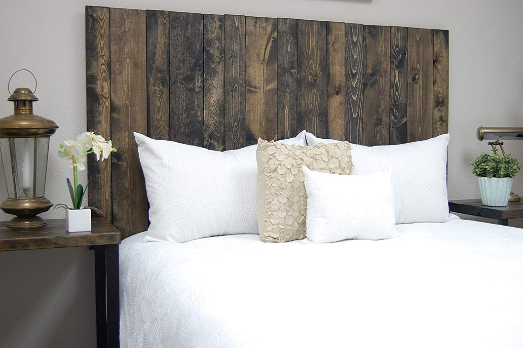 Ebony Headboard California King Size Stain, Hanger Style, Handcrafted. Mounts on Wall. Easy Installation