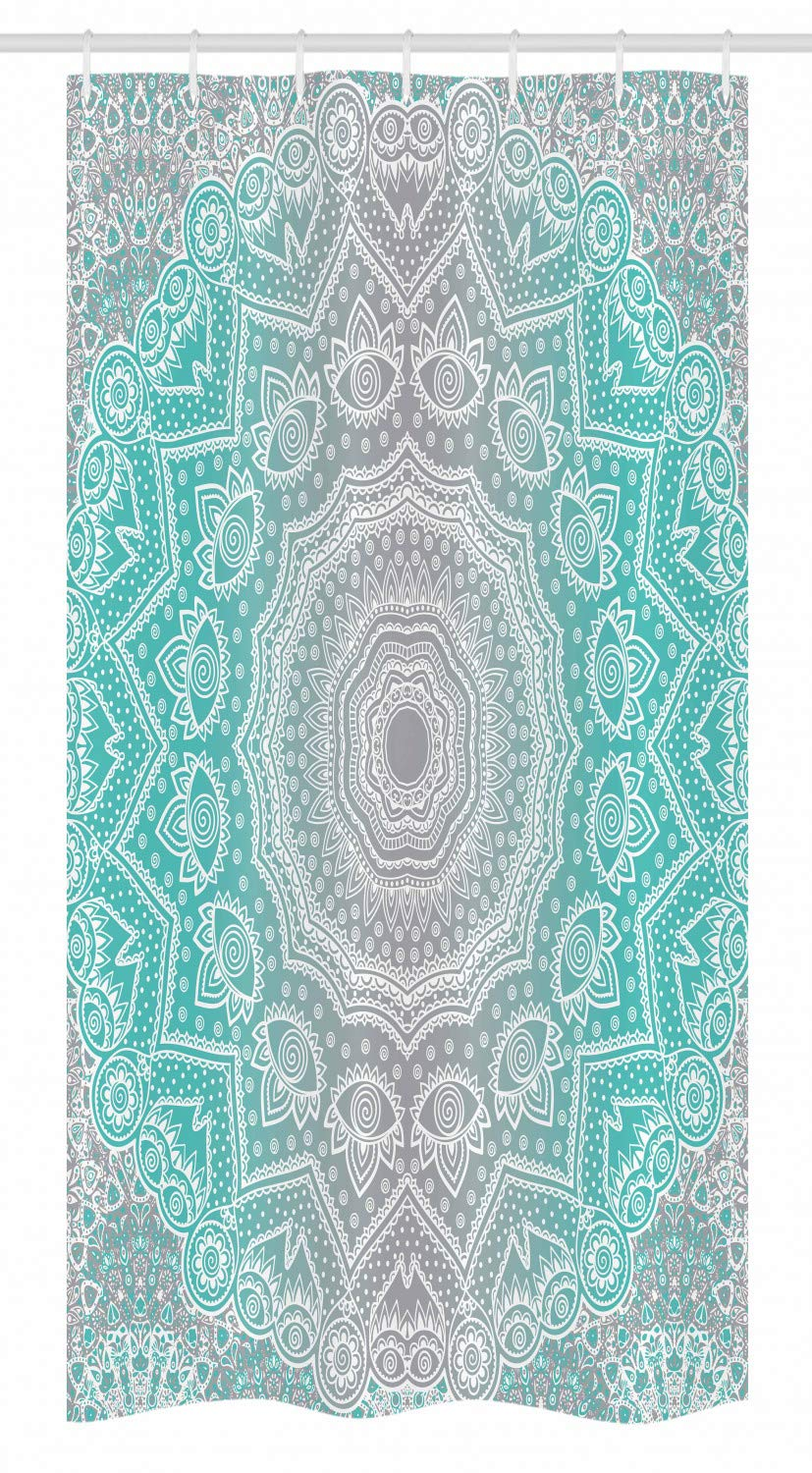 Ambesonne Grey and Turquoise Stall Shower Curtain, Primitive Essence and Universe Harmony Mandala Ombre Art, Fabric Bathroom Decor Set with Hooks, 36