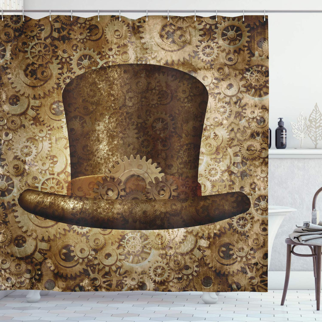 Ambesonne Victorian Decor Collection, Steampunk Top Hat as a Science Fiction Concept Made of Metal Copper Gears and Cogs Image, Polyester Fabric Bathroom Shower Curtain Set with Hooks, Gold