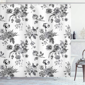 "Ambesonne Black and White Shower Curtain, Vintage Floral Pattern Victorian Classic Royal Inspired New Modern Art, Cloth Fabric Bathroom Decor Set with Hooks, 84"" Extra Long, Black and White"