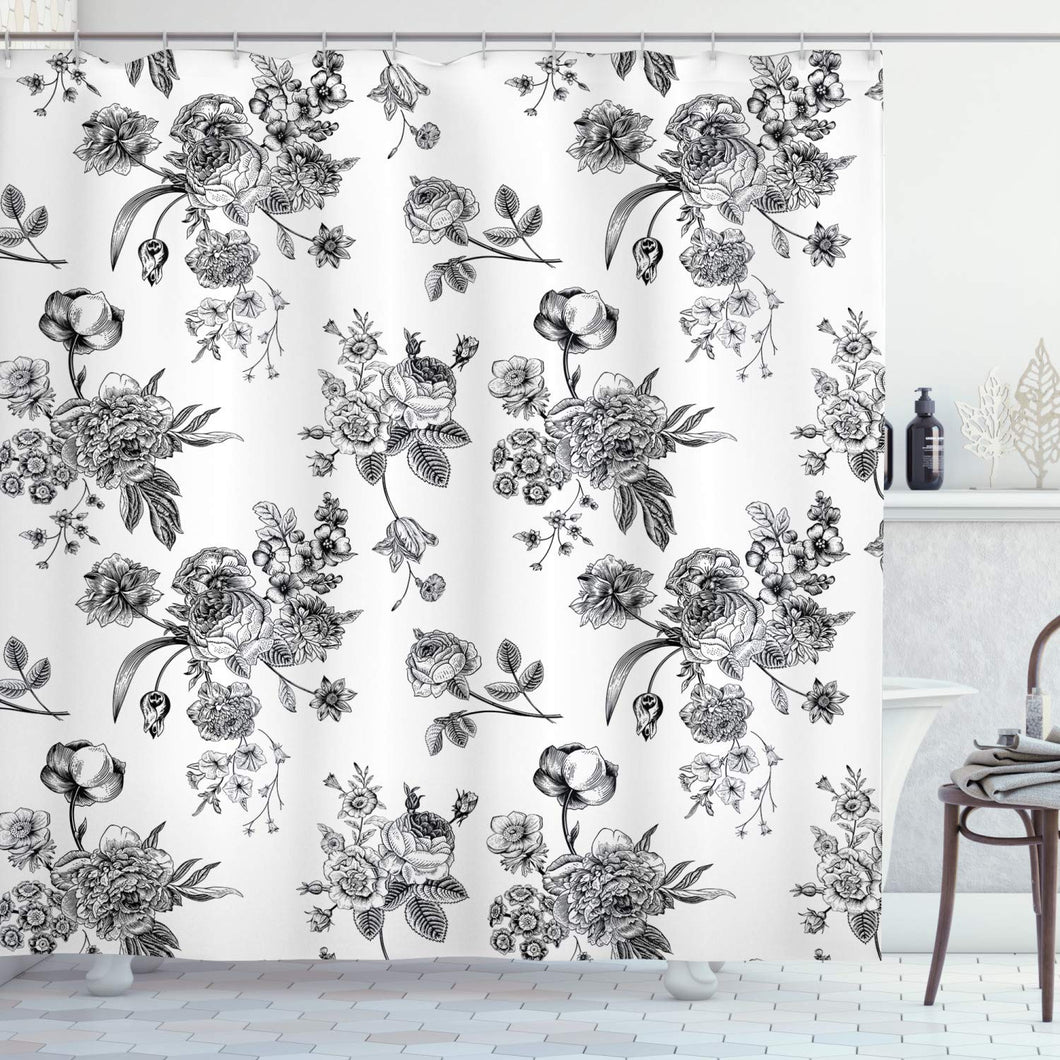 Ambesonne Black and White Shower Curtain, Vintage Floral Pattern Victorian Classic Royal Inspired New Modern Art, Cloth Fabric Bathroom Decor Set with Hooks, 84
