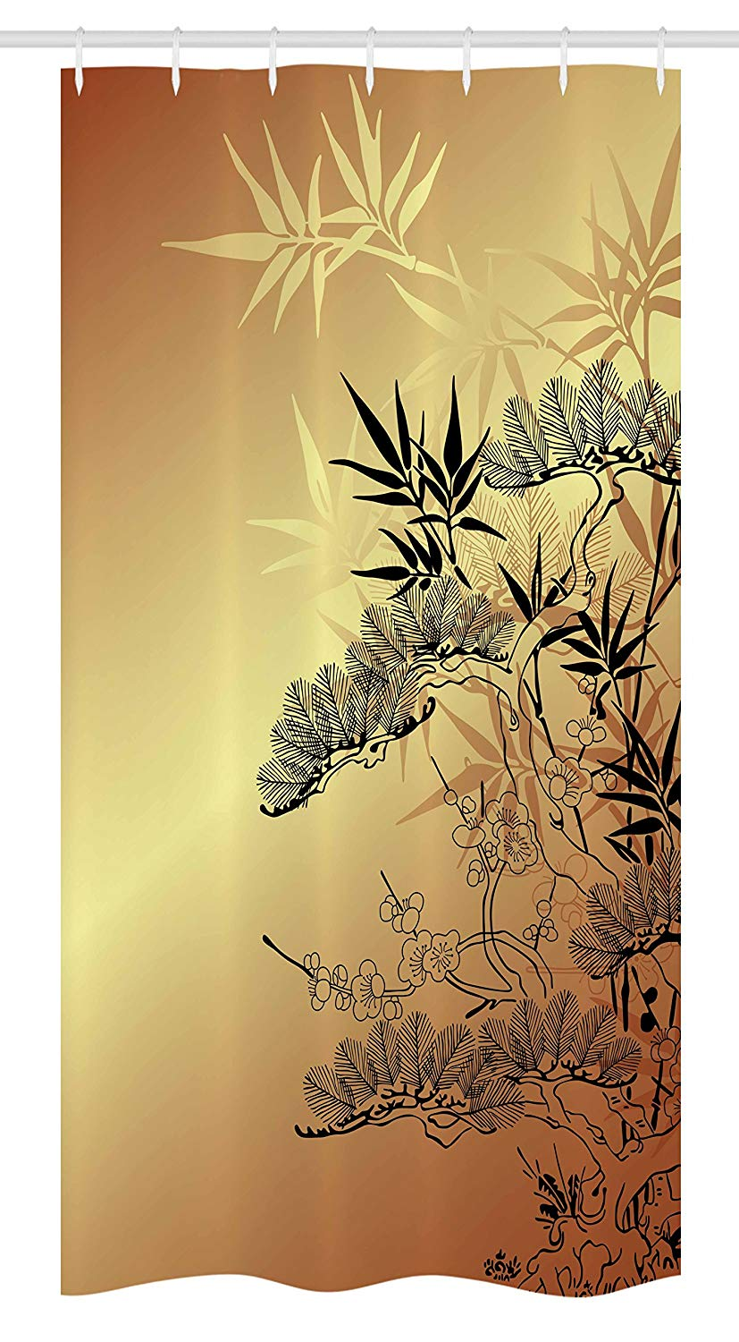 Ambesonne Japanese Stall Shower Curtain, Asian Branches and Bamboo Motifs with Showy Fragrant Leaves Nature Illustration, Fabric Bathroom Decor Set with Hooks, 36 W x 72 L Inches, Sepia Black