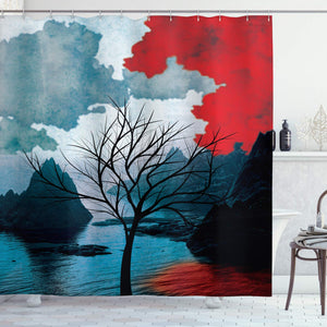 "Ambesonne Lonely Tree Shower Curtain, Ocean Mountains with Blurred Background Idyllic Nature Photo, Cloth Fabric Bathroom Decor Set with Hooks, 70"" Long, Black Red"