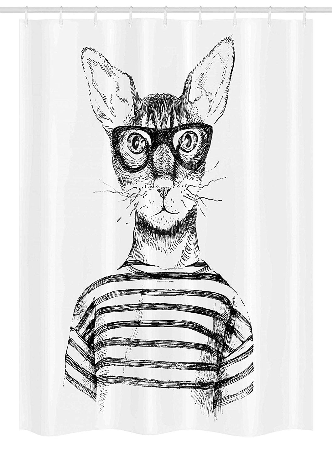 Ambesonne Cat Stall Shower Curtain, Hand Drawn Dressed up Hipster New Age Cat Fashion Urban Free Spirit Artwork Print, Fabric Bathroom Decor Set with Hooks, 54