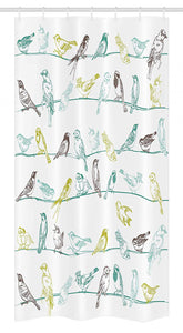 "Ambesonne Birds Stall Shower Curtain, Various Type of Birds Sitting and Chirping on Wires Musical Creatures Print, Fabric Bathroom Decor Set with Hooks, 36"" X 72"", Green Brown"