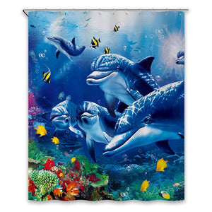 Chunyi Blue Sea World Coral Dolphin Printed Waterproof Shower Curtain Liners 72x72 Inches Bathroom Decoration with Rust Proof Hooks