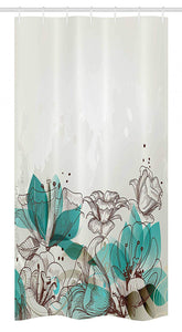 "Ambesonne Turquoise Stall Shower Curtain, Retro Floral Background with Hibiscus Silhouettes Dramatic Romantic Nature Art, Fabric Bathroom Decor Set with Hooks, 36"" X 72"", Beige Teal"