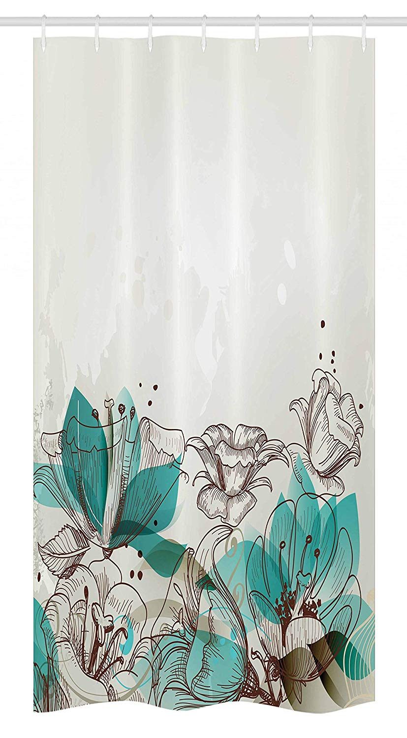 Ambesonne Turquoise Stall Shower Curtain, Retro Floral Background with Hibiscus Silhouettes Dramatic Romantic Nature Art, Fabric Bathroom Decor Set with Hooks, 36
