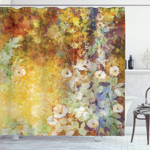 Ambesonne Leaves Shower Curtain Floral Decor Collection, Watercolor Painting Flowers Soft Green Romantic Grunge Antique Vintage, Polyester Fabric Bathroom Set with Hooks, Yellow Brown Multicolored