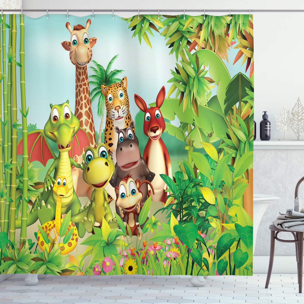Ambesonne Cartoon Decor Shower Curtain by, Cute Animals Giraffe Tiger Snake Dinosaur Hippo Monkey in Jungle Kids Baby Theme, Fabric Bathroom Decor Set with Hooks, 84 Inches Extra Long, Green