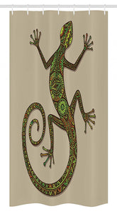 "Ambesonne Reptile Stall Shower Curtain, Ornamental Colorful Lizard with Patterns Moving Around Exotic Creature Theme, Fabric Bathroom Decor Set with Hooks, 36"" X 72"", Green Tan"