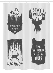 Ambesonne Stall Shower Curtain, Wilderness Emblems Stay Wild Wander The World is Your Arrow Pine, Fabric Bathroom Decor Set with Hooks 54 W x 78 L Inches,