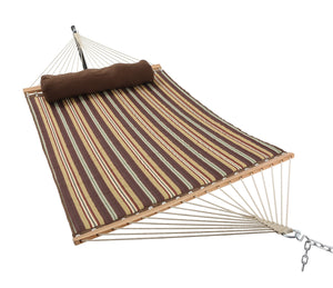 ELC 11 Feet Double Quilted Fabric Hammock with Pillow, Hammocks with Bamboo Spreader Bars and 2 Steel Chains, Perfect for Outdoor Patio Yard Hanging Hammock Brown Stripes