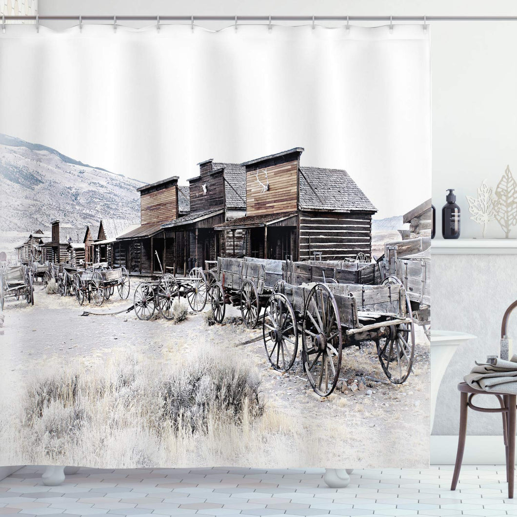 Ambesonne Western Decor Shower Curtain by, Old Wooden Wagons from 20's in Ghost Town Antique Wyoming Wheels Art Print, Fabric Bathroom Decor Set with Hooks, 75 Inches Long, White Gray