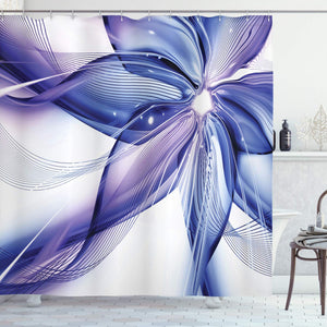 "Ambesonne Abstract Shower Curtain, Geometrical Smoke Like Striped Huge Flower Floral Design Work of Art, Cloth Fabric Bathroom Decor Set with Hooks, 84"" Long Extra, Blue White"