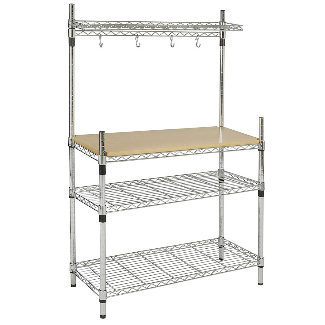 Best Choice Products Kitchen Storage Bakers Rack w/Top Shelf Pan Cookware Hanger - Chrome/Wood