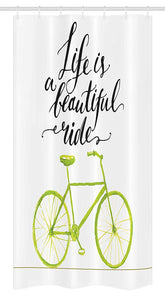 "Ambesonne Bicycle Stall Shower Curtain, Life is a Bike Ride Words Print with Pastel Color Unique Bike Graphic, Fabric Bathroom Decor Set with Hooks, 36"" X 72"", Green Black"