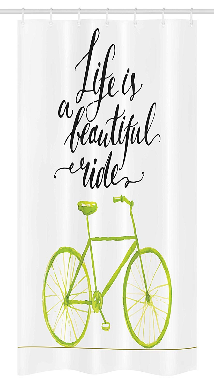 Ambesonne Bicycle Stall Shower Curtain, Life is a Bike Ride Words Print with Pastel Color Unique Bike Graphic, Fabric Bathroom Decor Set with Hooks, 36