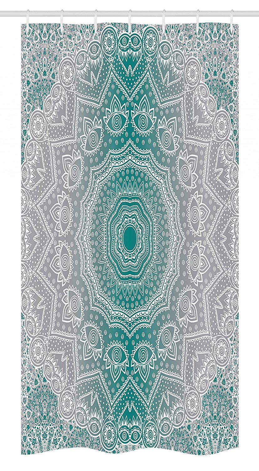 Ambesonne Grey and Teal Stall Shower Curtain, Mandala Ombre Geometry Occult Pattern with Flower Lines Display Artwork, Fabric Bathroom Decor Set with Hooks, 36