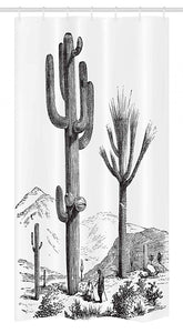 "Ambesonne Cactus Stall Shower Curtain, Sketchy Hand Drawn Print of Desert Plants with Mexican Travellers Image, Fabric Bathroom Decor Set with Hooks, 36"" X 72"", Charcoal Grey"