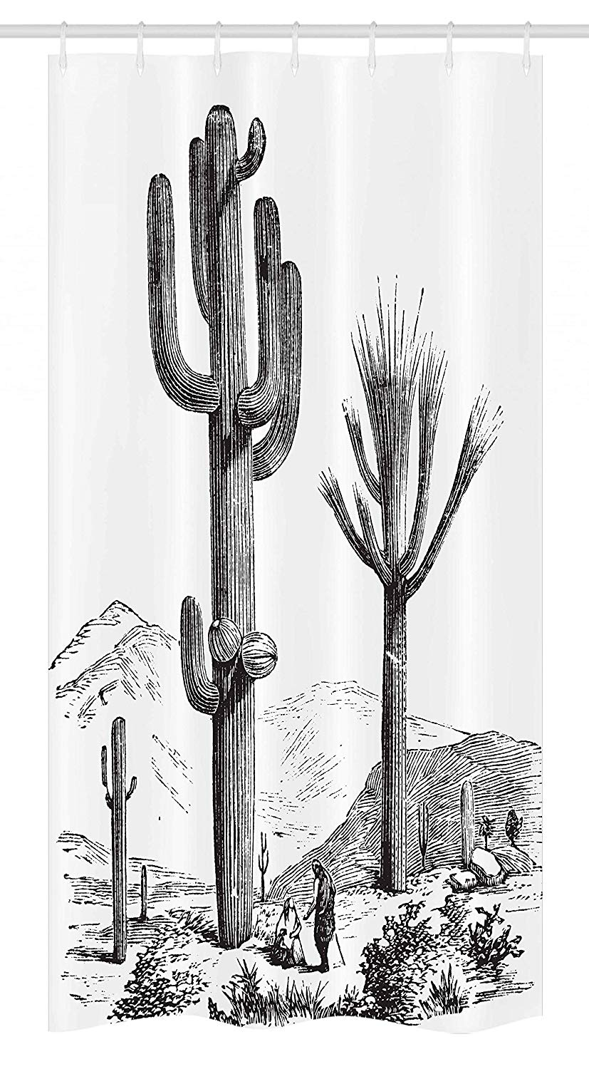 Ambesonne Cactus Stall Shower Curtain, Sketchy Hand Drawn Print of Desert Plants with Mexican Travellers Image, Fabric Bathroom Decor Set with Hooks, 36