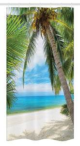 "Ambesonne Ocean Stall Shower Curtain, Shadow Shade of a Coconut Palm Tree on White Sandy Seashore Image, Fabric Bathroom Decor Set with Hooks, 36"" X 72"", Green Blue"