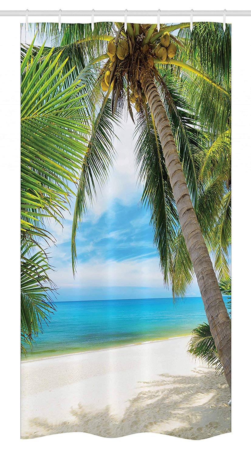 Ambesonne Ocean Stall Shower Curtain, Shadow Shade of a Coconut Palm Tree on White Sandy Seashore Image, Fabric Bathroom Decor Set with Hooks, 36