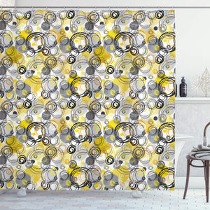 Ambesonne Grey and Yellow Shower Curtain, Hand Drawn Sketchy Geometrical Retro Modern Circles Image, Fabric Bathroom Decor Set with Hooks, 75 Inches Long, Mustard White
