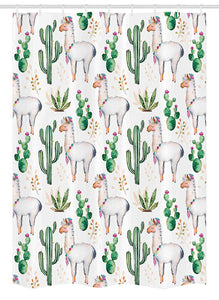 "Ambesonne Cactus Stall Shower Curtain, Hot South Desert Plant Cactus Pattern with Camel Animal Modern Colored Image Print, Fabric Bathroom Decor Set with Hooks, 54"" X 78"", White Green"