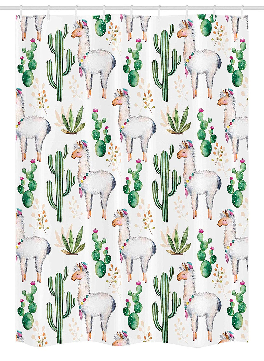 Ambesonne Cactus Stall Shower Curtain, Hot South Desert Plant Cactus Pattern with Camel Animal Modern Colored Image Print, Fabric Bathroom Decor Set with Hooks, 54