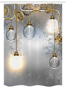 Ambesonne Industrial Decor Stall Shower Curtain, Steampunk Antique Composition Brass Fastening Round Figures Print, Fabric Bathroom Decor Set with Hooks, 54 W x 78 L Inches, Gold Grey White