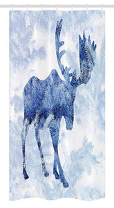 "Ambesonne Moose Stall Shower Curtain, Blue Pattern Pine Needles Spruce Tree with Antlers Deer Family Snow Winter Horns, Fabric Bathroom Decor Set with Hooks, 36"" X 72"", Blue White"