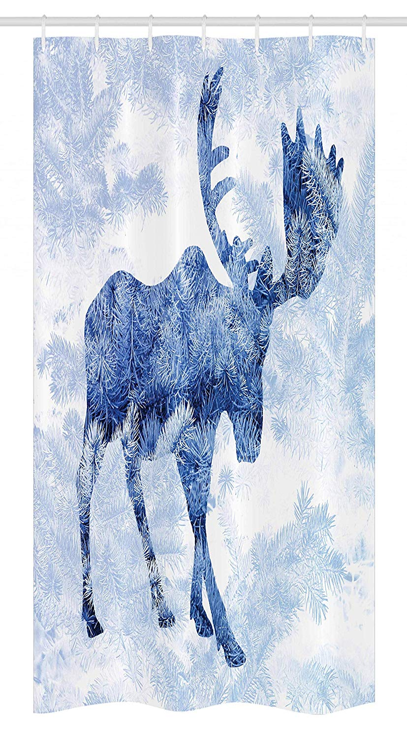 Ambesonne Moose Stall Shower Curtain, Blue Pattern Pine Needles Spruce Tree with Antlers Deer Family Snow Winter Horns, Fabric Bathroom Decor Set with Hooks, 36