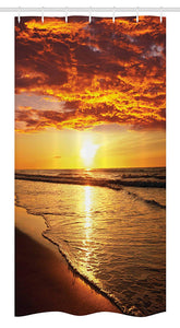 Ambesonne Hawaiian Stall Shower Curtain, Dramatic Sunset Scenery Calm Exotic Beach Ocean Waves Coastal View, Fabric Bathroom Decor Set with Hooks, 36 W x 72 L inches, Orange Dark Orange Yellow