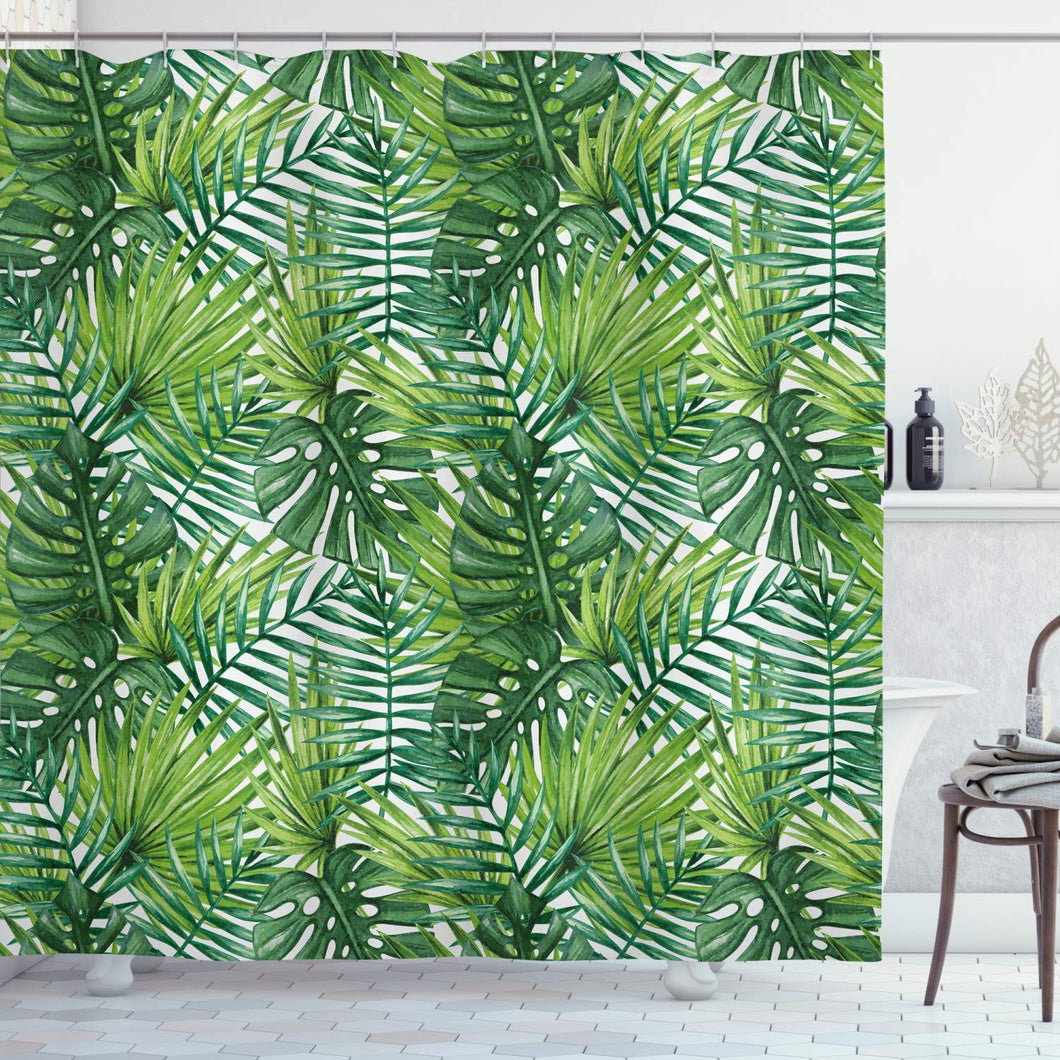Ambesonne Leaf Shower Curtain, Tropical Exotic Banana Forest Palm Tree Leaves Watercolor Design Image, Cloth Fabric Bathroom Decor Set with Hooks, 75