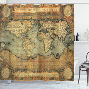 "Ambesonne World Map Shower Curtain, Old Chart Vintage Composition of 16th Century Atlas Print, Cloth Fabric Bathroom Decor Set with Hooks, 75"" Long, Sand Blue"