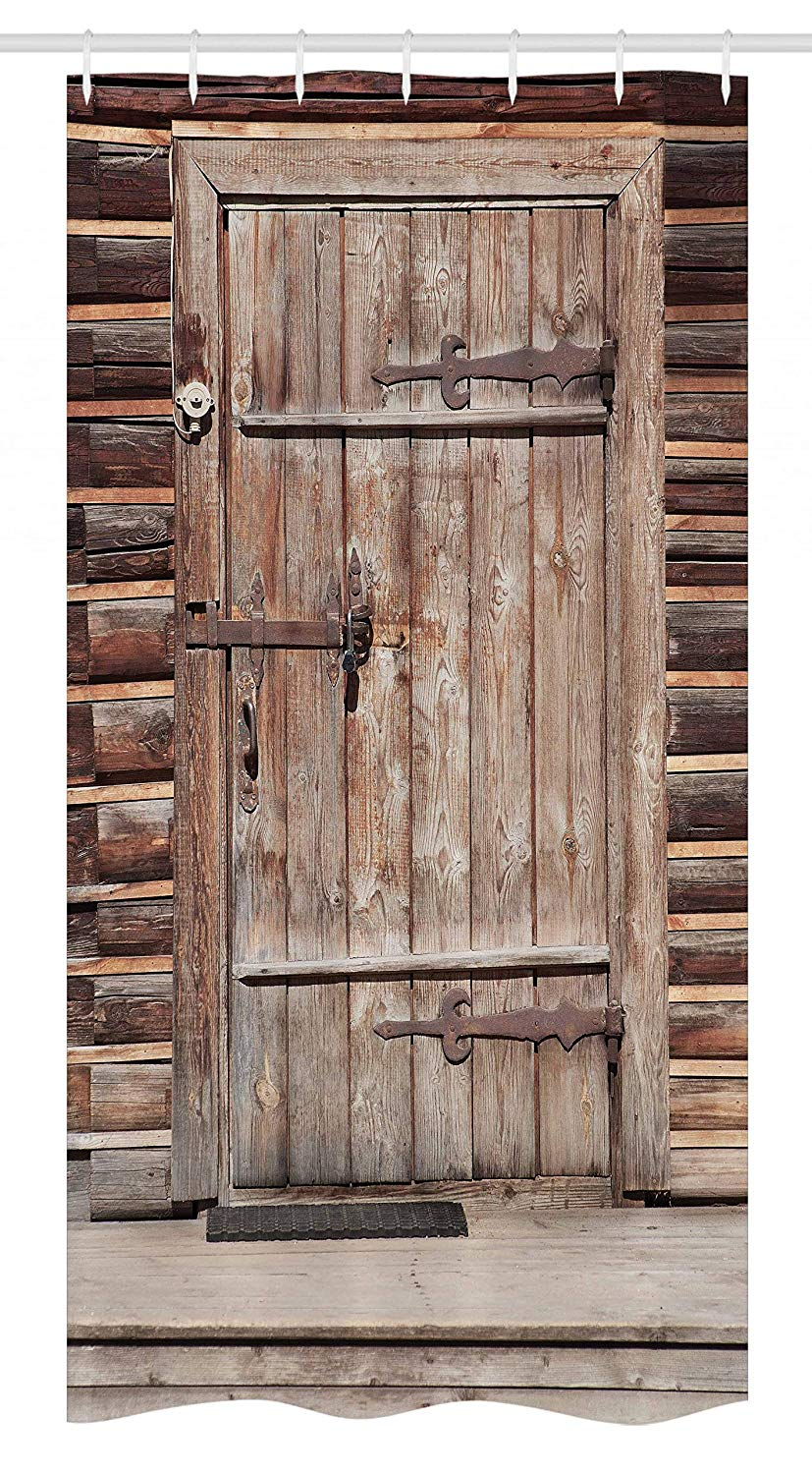 Ambesonne Rustic Stall Shower Curtain, Timber Rustic Door in Wall of an Old Log House Abandoned Building Entrance Gate, Fabric Bathroom Decor Set with Hooks, 36