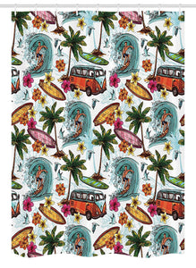 "Ambesonne Ocean Stall Shower Curtain, Hawaiian Surfer on Wavy Deep Sea Retro Style Palm Trees Flowers Surf Boards Print, Fabric Bathroom Decor Set with Hooks, 54"" X 78"", White Teal"