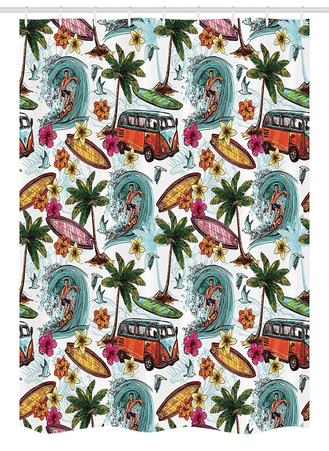 Ambesonne Ocean Stall Shower Curtain, Hawaiian Surfer on Wavy Deep Sea Retro Style Palm Trees Flowers Surf Boards Print, Fabric Bathroom Decor Set with Hooks, 54