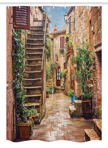 Ambesonne Italian Stall Shower Curtain, View of Old Mediterranean Street with Stone Rock Houses in Italian City Rural Print, Fabric Bathroom Decor Set with Hooks, 54 W x 78 L Inches, Multicolor