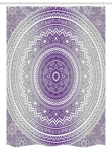 Ambesonne Grey and Purple Stall Shower Curtain, Eastern Traditional of Cosmos Pattern Zen Boho Ombre Mandala Design Print, Fabric Bathroom Decor Set with Hooks, 54 W x 78 L inches, Purple White