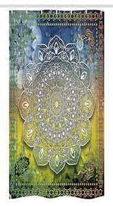 "Ambesonne Ethnic Stall Shower Curtain, Mystic Mandala Culture Chakra Karma Calmness and Harmony Boho Design, Fabric Bathroom Decor Set with Hooks, 36"" X 72"", Forest Green"