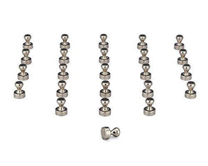 24 Pack Magnetic Push Pins u2502Silver Push Pinsu2502 Brushed Nickel Push Pins For Refrigerators, White Boards, Maps, Calendars and Office Organization