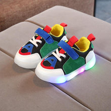 2018 New Lovely Sports light Patchwork children shoes Hook&Loop LED cute baby boys girls shoes Lovely kids sneakers